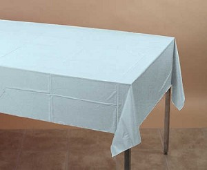 "LIGHT BLUE 54""x108""rectangle plastic lined paper tablecloth"
