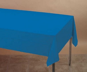 "ROYAL BLUE (COBALT)  Plastic lined paper rectangle tablecloth-cover 54""x108"" 713147B"