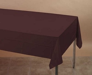 "DARK BROWN 54""x108""rectangle plastic lined paper tablecloth"