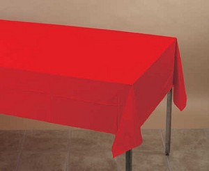 "RED 54""x108""rectangle plastic lined paper tablecloth"