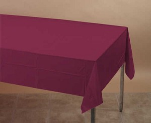 "BURGUNDY Plastic lined paper rectangle tablecloth-cover 54""x108""  713122B"