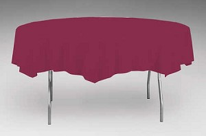 "BURGUNDY 82"" Round paper plastic lined tablecloth"