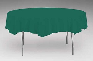 "HUNTER FOREST GREEN Paper plastic lined round tablecloth-cover  82"" 923124"