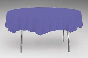 "PURPLE 82"" Round Paper plastic lined tablecloth"