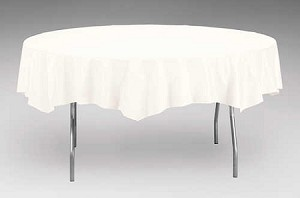 "WHITE 82"" Round Paper plastic lined tablecloth"