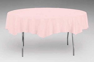 "LIGHT PINK Paper plastic lined round tablecloth-cover  82"" 923274"