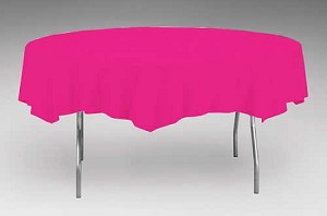 "MAGENTA Paper plastic lined round tablecloth-cover 82"" 923277"