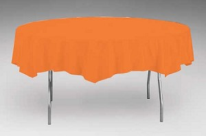 "ORANGE 82"" Round Paper plastic lined tablecloth"