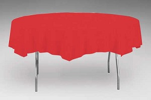 "RED 82"" Round Paper plastic lined tablecloth"