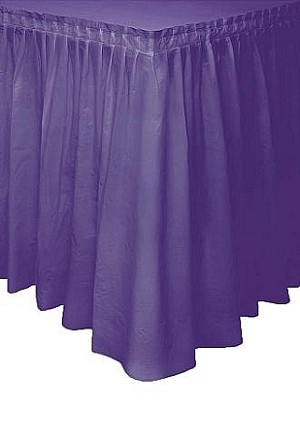 PURPLE plastic tableskirt