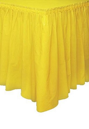 YELLOW plastic tableskirt