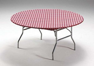 "RED/WHITE gingham elastic fitted Stayput tablecover for 60"" round table #37288"