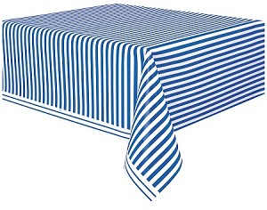 Striped tablecloth ROYAL BLUE/WHITE plastic 54x108 UI50301