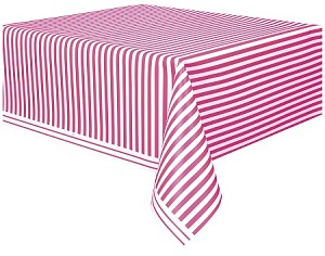 Striped tablecloth HOT PINK/WHITE plastic 54x108 UI50302