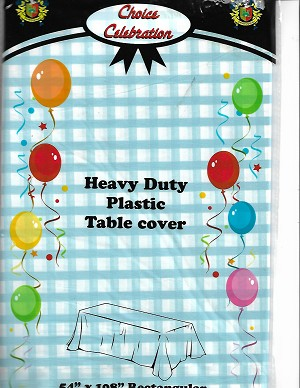 "Blue Gingham Tablecloth 54""x108"""
