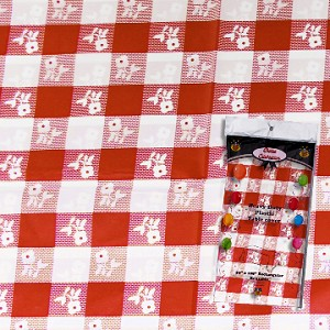 "Gingham plastic tablecloth 54""x108"" RED/WHITE"