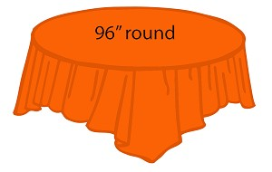 "96"" round plastic tablecloth ORANGE out til mid May"