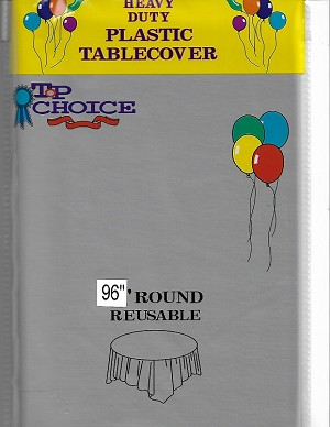 "SILVER 96"" plastic round tablecover"