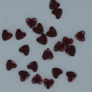 Heart Plastic Rhinestones  RED  8mm  200 pc