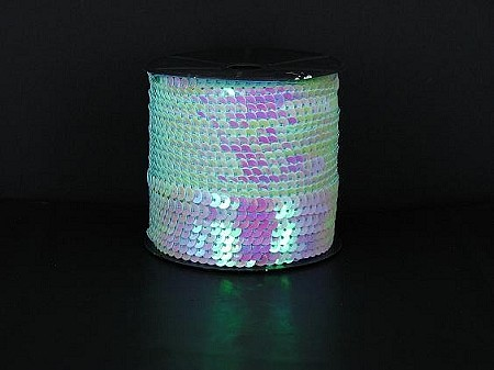 WHITE/IRIDESCENTSequin roll 50 yards
