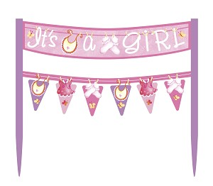 pink it s a girl cake banners are an easy and inexpensive way to add