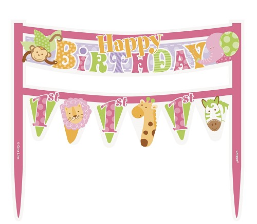 Cake banner pink Happy first birthday UI42571
